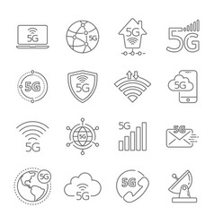 5g technology icons set 5th generation mobile vector image