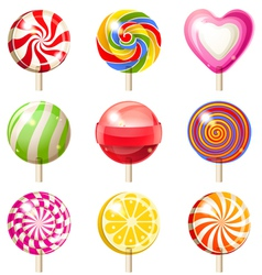9 lollipop icons vector image