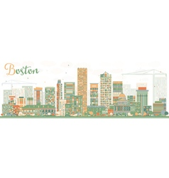 Abstract Boston Skyline with Color Buildings vector