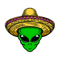 Alien in sombrero isolated on white background vector