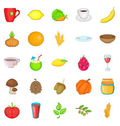 Asian breakfast icons set cartoon style vector