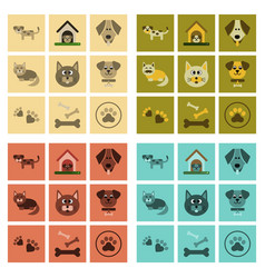 Assembly flat icons dog cats pets vector