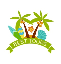 Banner with the inscription best tours palm trees vector
