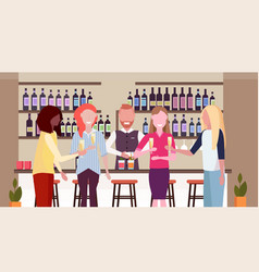 Barman pouring drink in glasses bartender making vector