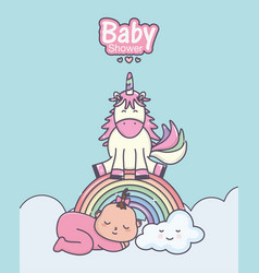bashower cute girl unicorn rainbow clouds vector image