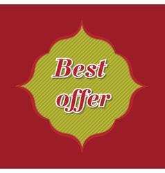Best offer banner - 3d spring green flower label vector