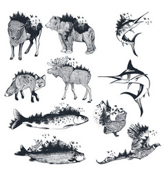 big collection artistic hand drawn animals vector image