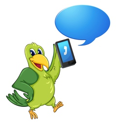 Bird with cell phone vector