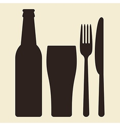 bottle glass beer and cutlery vector image