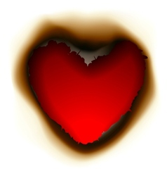 Burnt hole in shape of heart vector