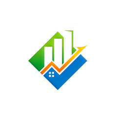 business finance building arrow logo vector image