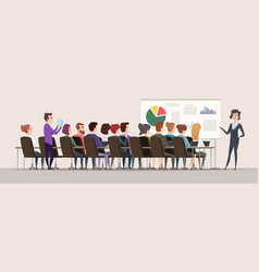 business trainer female teacher in conference vector image