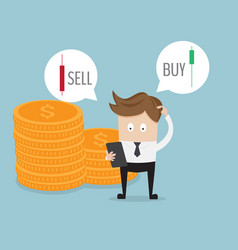 Businessman confused for select sell or buy forex vector