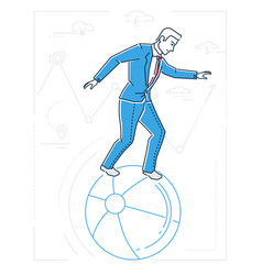 Businessman with balancing on a ball - line design vector