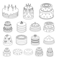 cake and dessert outline icons in set collection vector image