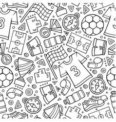 cartoon cute hand drawn sport seamless pattern vector image
