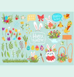 cartoon easter graphical set with rabbits vector image