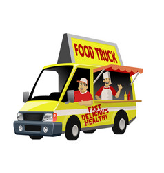 cartoon foodtruck with crew vector image