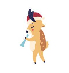 cartoon reindeer in santa vector image