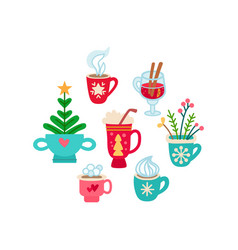 Christmas set of winter drinks flat icon vector