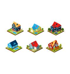 City buildings set urban landscape elements vector
