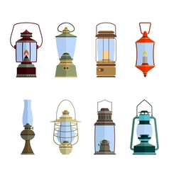 color icons set with lantern vector image