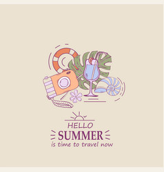 concept banner with text hello summer vector image
