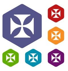 Crusaders rhombus icons vector