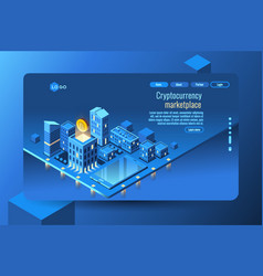Cryptocurrency mining concept vector