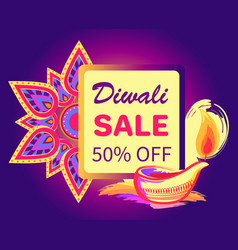 Diwali sale -50 off sign vector