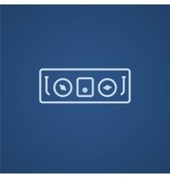 DJ console line icon vector image