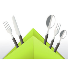 elegant cutlery in decorative napkin vector image