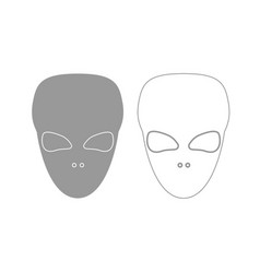 extraterrestrial alien face or head grey set icon vector image