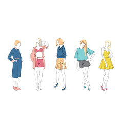 Fashion collection of clothes female models set vector