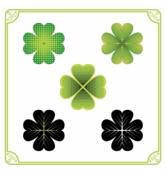 Five Clover Leaves vector image