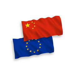 Flags china and european union on a white vector