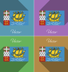 Flags Saint Pierre Miquelon Set of colors flat vector