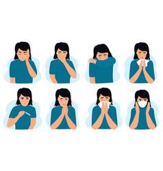 flu and cold symptoms coronavirus covid-19 girl vector image
