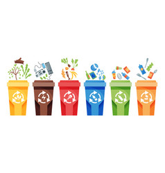 garbage collection recycling plastic containers vector image