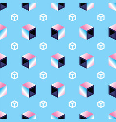 geometric 3d cubes on blue pattern background vector image