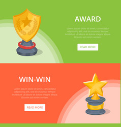 Golden grand prizes of star and shield shape vector