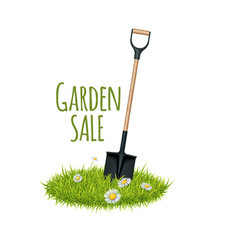 grass and garden shovel vector image