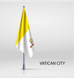 Hanging flag on flagpole vector
