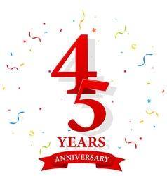 Happy Anniversary celebration with confetti vector