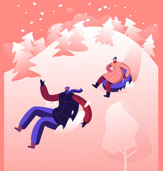 happy people going downhills snowy slopes on vector image