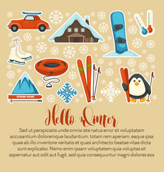 hello winter poster with active vacation symbols vector image