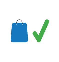 icon concept of shopping bag with check mark vector image