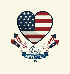 Independence day wiith heart emblem and firewords vector