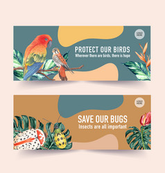 Insect and bird banner design with sun conure vector