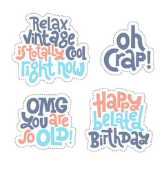 irreverent birthday sticker set design template vector image